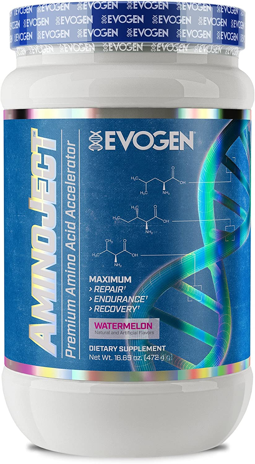 Evogen AminoJect Vegan Fermented Plant Based BCAA, Glutamine, Citrulline Powder Watermelon 30 Servings