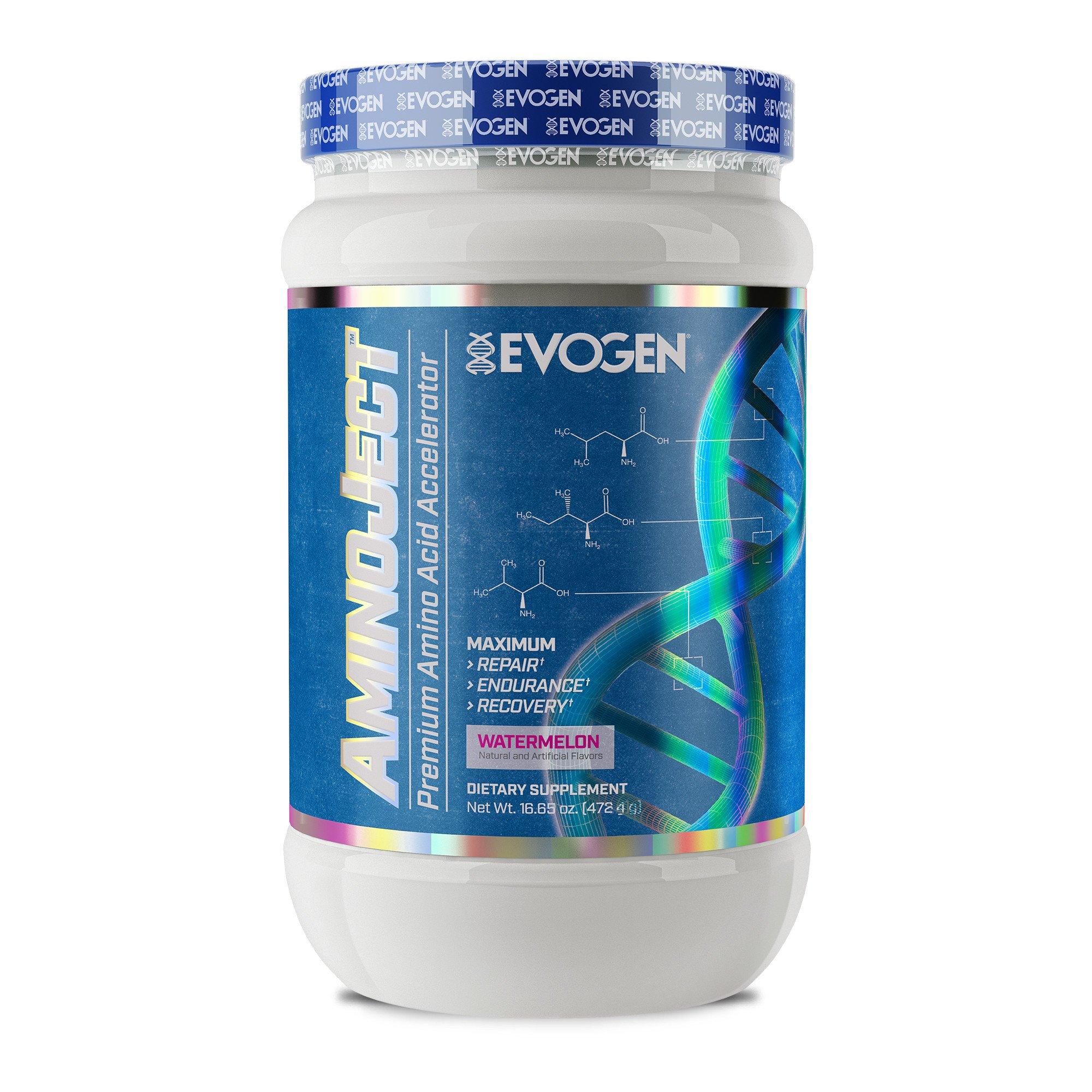 Evogen AminoJect   Vegan Fermented Plant Based BCAA, Glutamine, Citrulline Powder   Watermelon   30 Servings