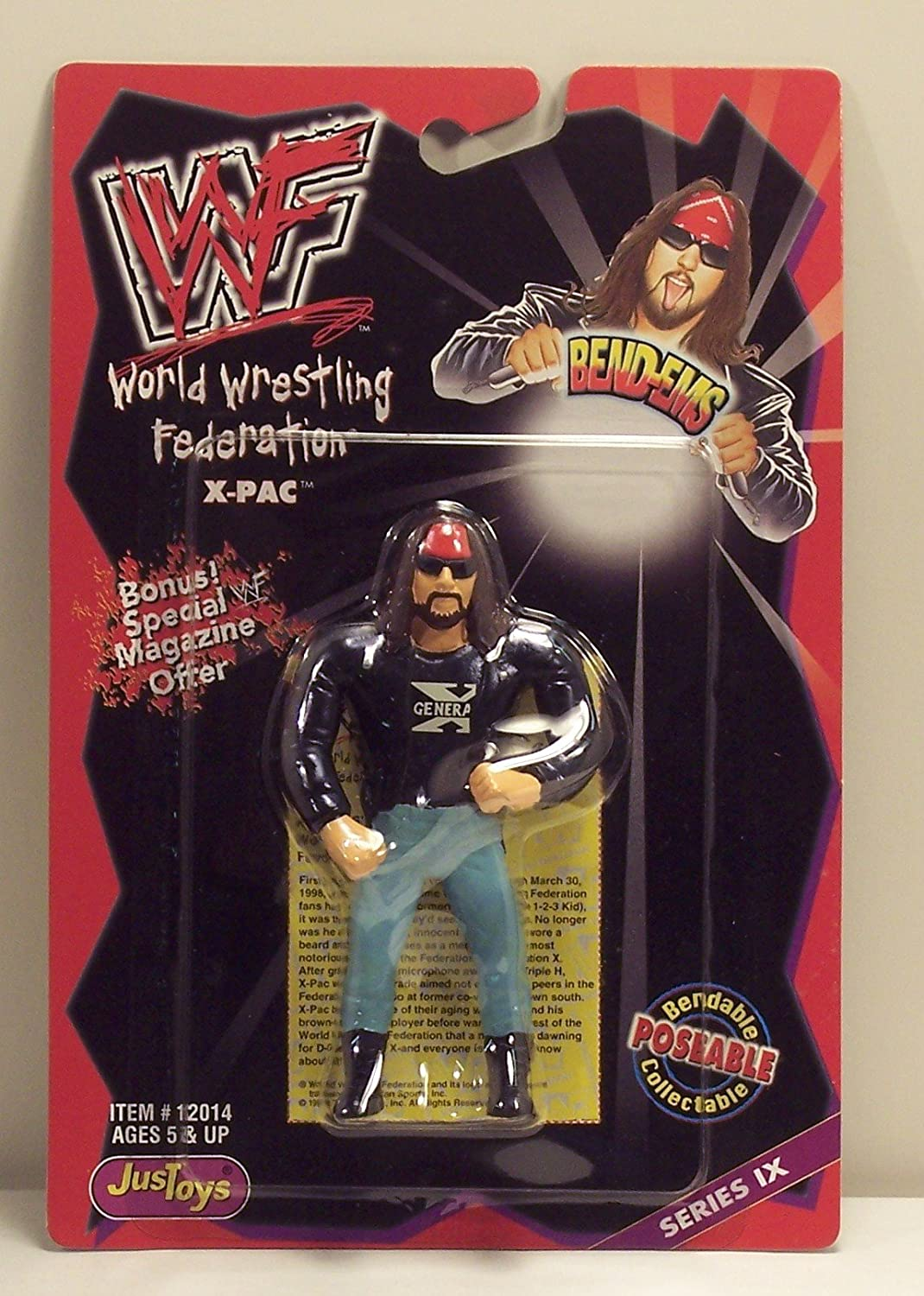 JusToys WWE Wrestling WWF Bend-Ems Series 9 X-Pac Action Figure