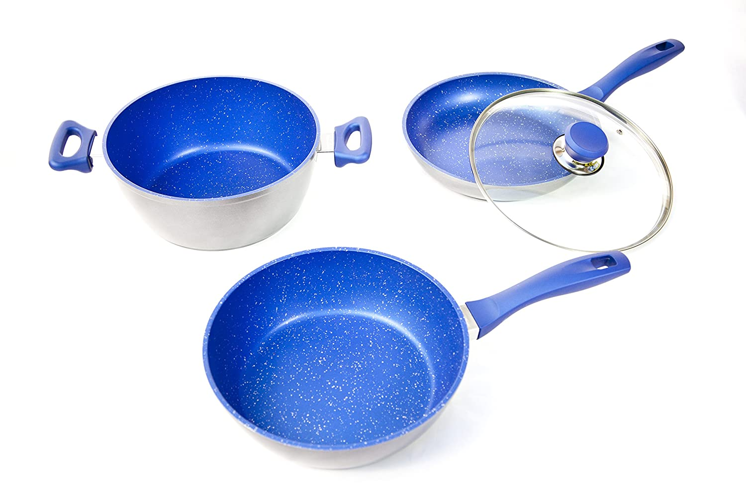 FlavorStone Gemstone-Tough, Sapphire Non-Stick Cookware 4-Piece 9.5 Master Set: The Only Cookware You'll Ever Need! As Seen On TV! Thane Canada Inc
