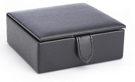 Gemelos de viaje caja de almacenaje forrada en gamuza Royce en Saffiano piel auténtica, se