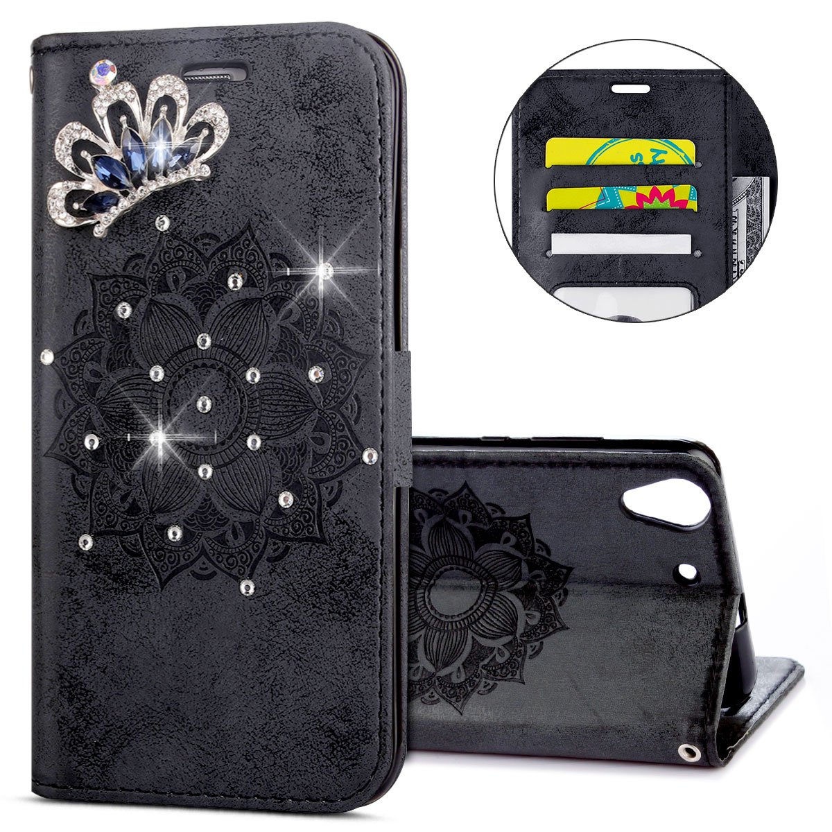 IKASEFU Huawei Y6 II Case,3D Clear Crown Rhinestone Diamond Bling Glitter Wallet with Card Holder Emboss Mandala Floral Pu Leather Magnetic Flip Case Protective Cover for Huawei Y6 II,Black