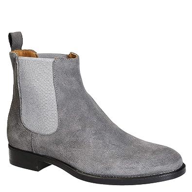 0370565d28b Leonardo Shoes Bottines Homme en Daim travaillé à la Main Gris - Code modèle   248