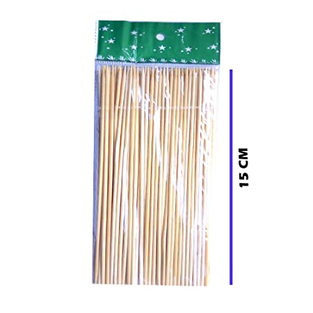 JFPA Skewer Stick 15 cm -Pack of 80 (Multicolour)