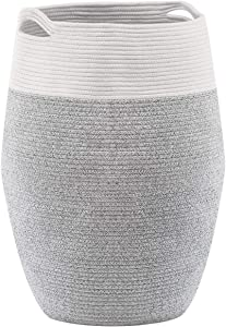 YOUDENOVA Laundry Hamper Large Woven Cotton Rope Laundry Basket Dirty Clothes Hamper for Laundry or Bedroom – 25.6 Height Grey
