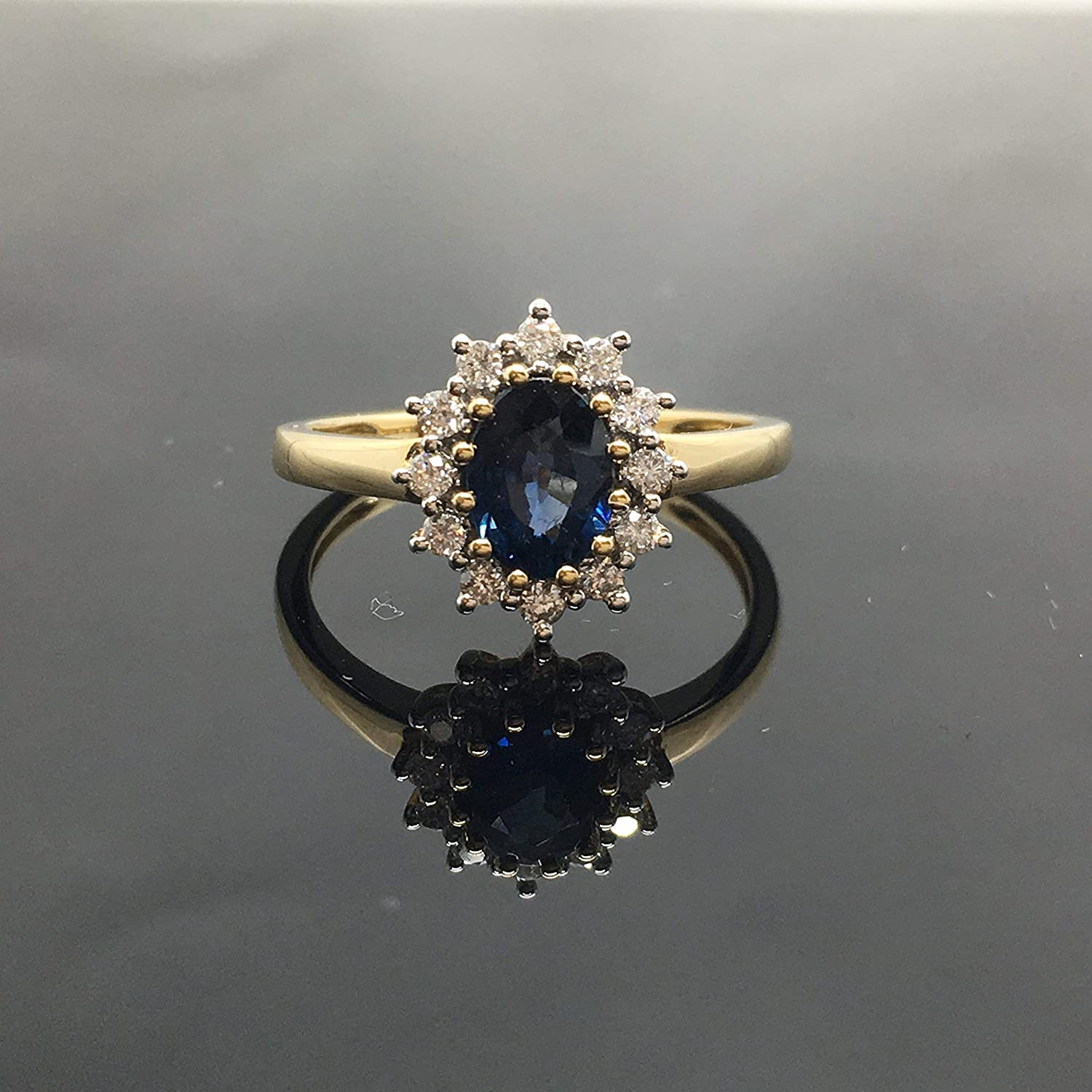 Amazon Com Victorian Sapphire Engagement Ring Solid 14k Yellow Gold Vintage Princess Diana Inspired Engagement Ring 14k Genuine Sapphire Diamond Halo Ring 14k Natural Blue Sapphire Ring Handmade