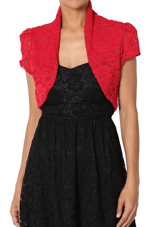 TheMogan Occasion Lace Short Sleeve Bolero Layering Crop Dress Shawl Jacket
