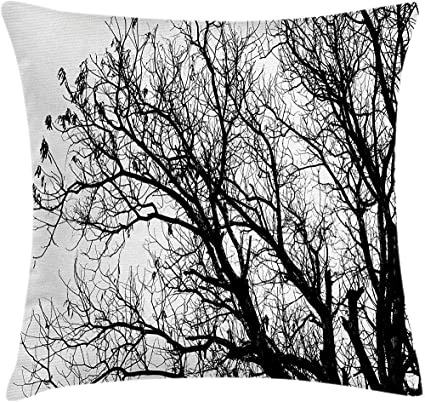 Gwrix Nature Throw Pillow Cushion Cover Leafless Autumn Fall Tree Branches Tops Oak Forest Woodland Season Eco Theme Decorative Square Pillow Case 45x45cm White And Black Amazon Co Uk Kitchen Home