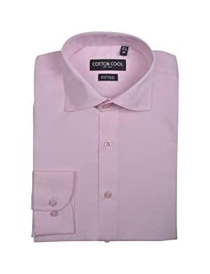 Cotton Cool Men's Fitted Solid Cotton Long Sleeve Dress Shirt - Light Pink, 2XL