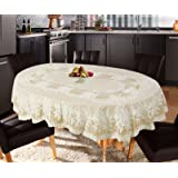 Katwa Clasic - 54 x 78 (Oval) Rose Lace Vinyl Tablecloth (Beige)