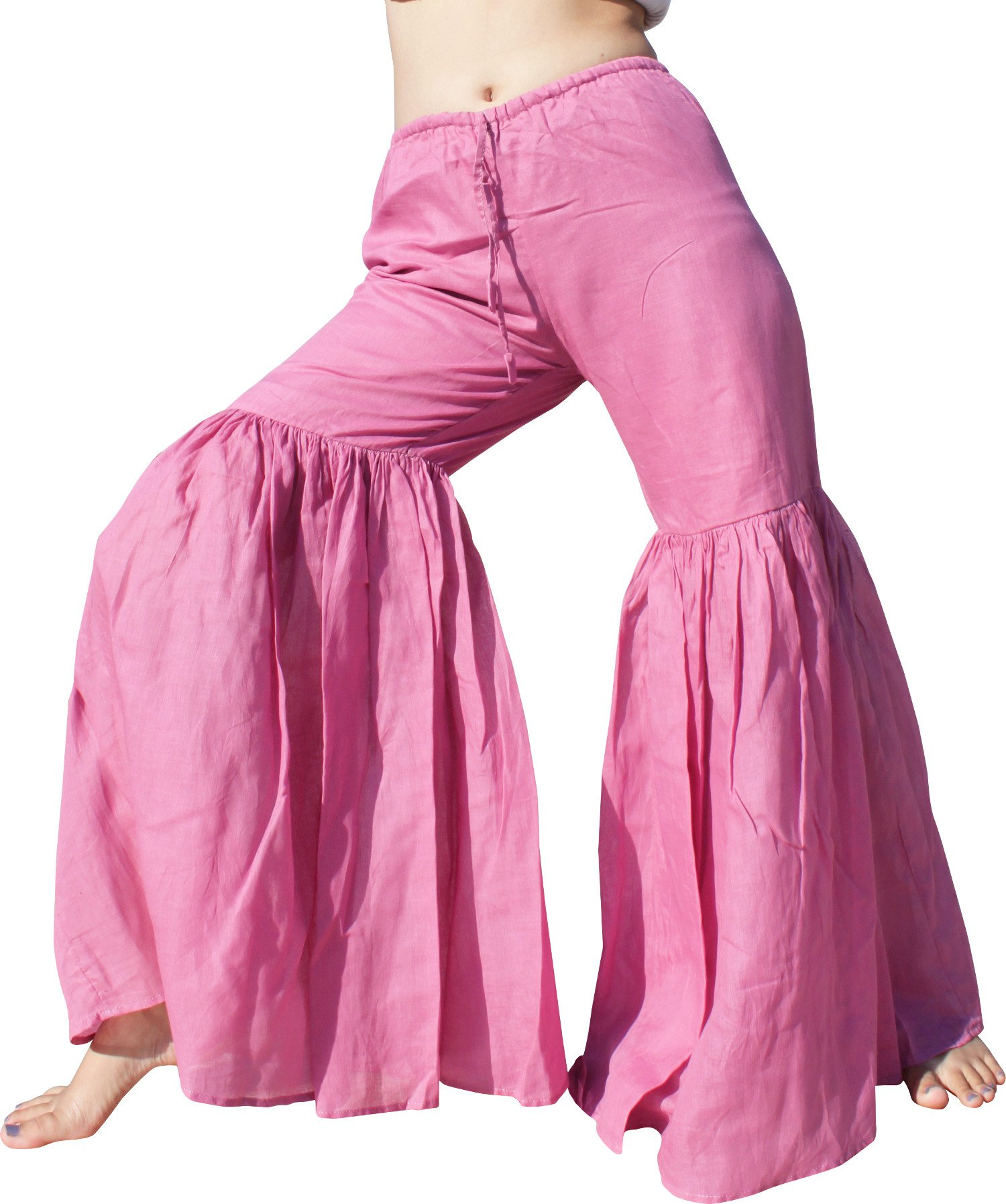RaanPahMuang Brand Wide Lower Leg Flared Light Cotton Stepped Pants Baggy Cut, Medium, Mauve Pink by Raan Pah Muang