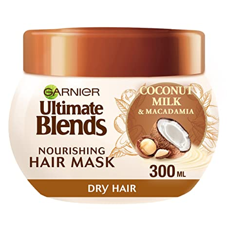 Mascarilla Garnier Ultimate Blends de leche de coco, tratamiento para cabello seco, 300 ml