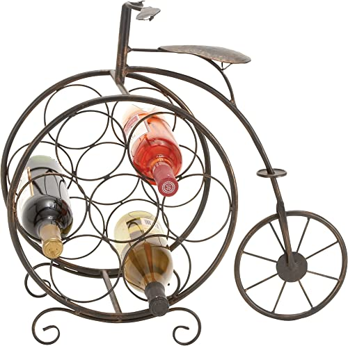 Deco 79 Woodland Imports Woodland Imports Antique High Wheel Bicycle 7 Bottle Wine Rack