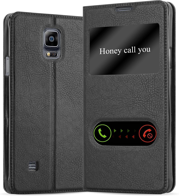 Cadorabo Funda Libro para Samsung Galaxy Note 4 en Negro Cometa - Cubierta Proteccíon con Cierre Magnético, Función de Suporte y 2 Ventanas- Etui Case Cover Carcasa