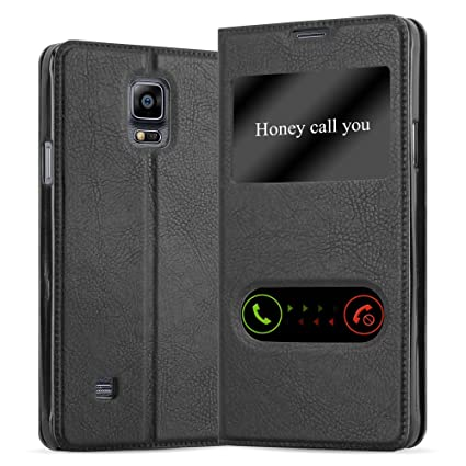 Cadorabo Book Case Works with Samsung Galaxy Note 4 in Comet Black – with Magnetic Closure, 2 Viewing Windows and Stand Function – Wallet Etui Cover ...