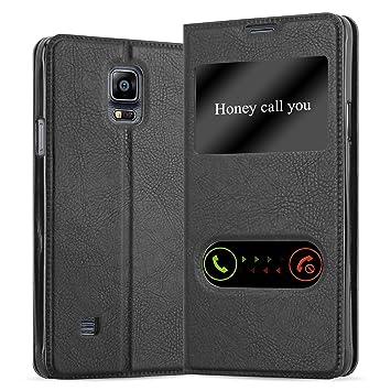 Cadorabo Funda Libro para Samsung Galaxy Note 4 en Negro Cometa - Cubierta Proteccíon con Cierre Magnético, Función de Suporte y 2 Ventanas- View Case ...