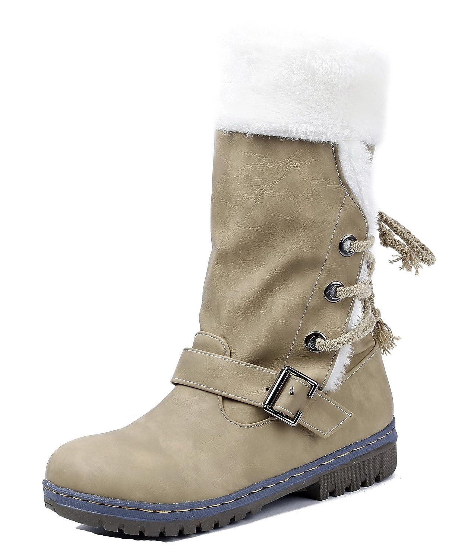 AgeeMi Shoes Femme Bottes de Neige Flat Confort Suedé Classic Hiver Lacets Chaudes EuX01