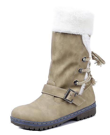 b31371217 AgeeMi Shoes Mujer Suede Plano Caña Baja Bota de Nieve con Hebilla   Amazon.es  Zapatos y complementos