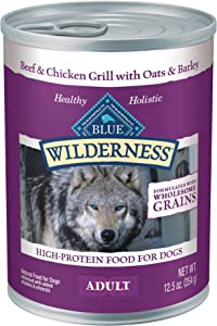 Blue Buffalo Wilderness High Protein Natural Adult Wet Dog Food plus Wholesome Grains, Beef & Chicken Grill 12.5-oz can (Pack of 12)
