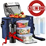 Meal Prep Lunch Bag / Insulated Lunch Box For Men & Women + 3 Large Leak-proof Food Containers (45 Oz.) + 2 Large Reusable Ice Packs + Bonus Shaker With Storage. Adult Portion Control Kit, Navy Blue