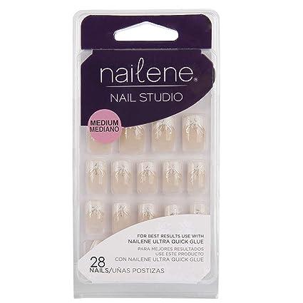 Nailene Nail Studio - Uñas postizas medianas con manicura francesa ...