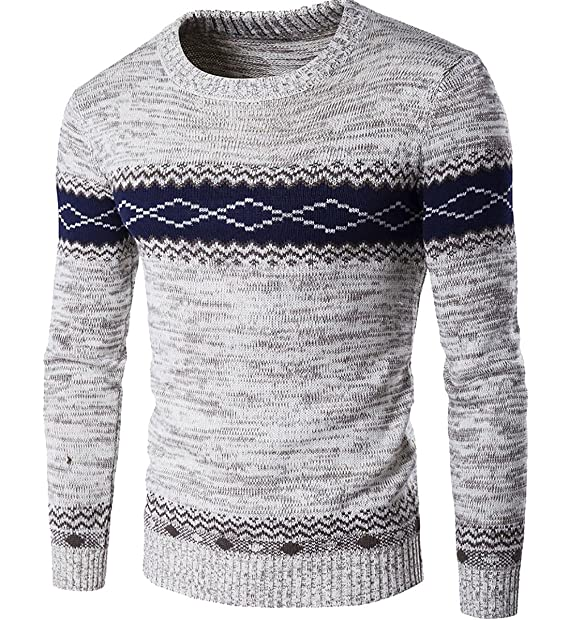 ccabf108b S-Fly Mens Stylish Color Block Round Neck Long Sleeve Knitted ...