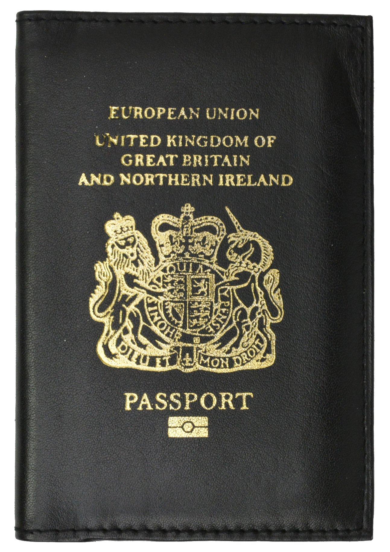 United Kingdom Passport Wallet Genuine Leather Passport holder with British Passport Emblem (Black)