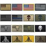 WZT Bundle 16 Pieces American Flag Tactical Morale Military Patch Set