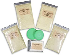 Cricket and Dubia Roach Chow (4 Lbs.) - Kit Includes 4 Pounds of Feed, 2 oz. Water Gel Crystals, and Two lids for Feed and Water Bowls. Premium Chow to Raise Your Feeder Crickets and Dubia Roaches