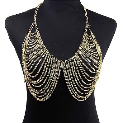 05f2cf8dfdf9e Amazon.com  Croozy Womens Shiny Bra Bikini Chains Jewelry Sexy Bra Body  Chains Nightclub Party Bra Breast Chest Chain  Jewelry