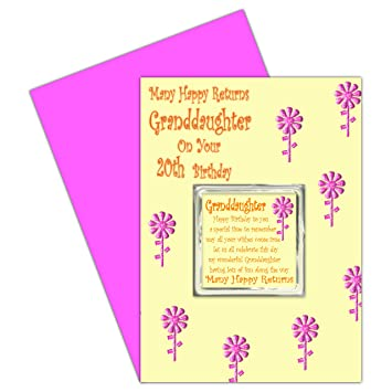 Granddaughter 20th Birthday Card With Removable Magnet Gift 20