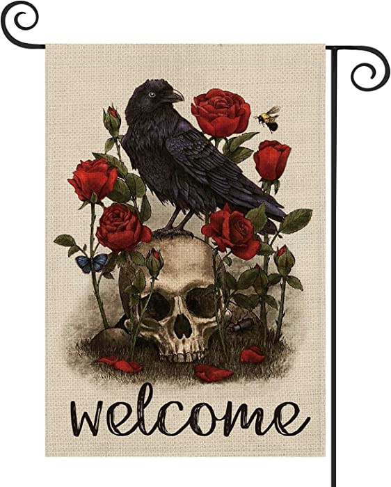 AVOIN Halloween Welcome Skull Rose Crow Garden Flag Vertical Double Sized, Butterfly Bee Day of The Dead Yard Outdoor Decoration 12.5 x 18 Inch