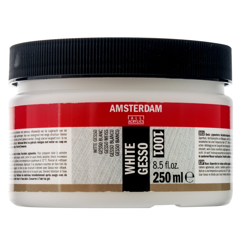 Amsterdam Acrylics White Gesso Primer Jar 250ml Royal Talens T2417-3001