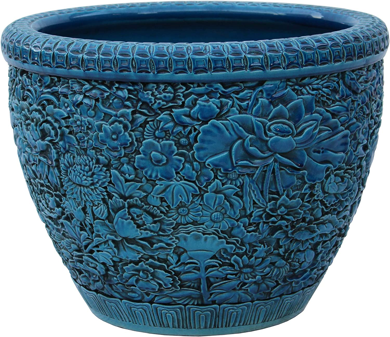 Amazon Com Orientliving Chinese Ceramic Blossom Flowers Relief Motif Bright Blue Color Pot Planter Acs4729 Home Kitchen
