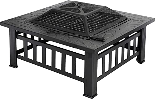 F2C Outdoor 32 inch Fire Pit Square Fireplace Steel Wood Burning Stove w Waterproof Cover Poker, Patio Backyard Travel Camping BBQ Wood Burning