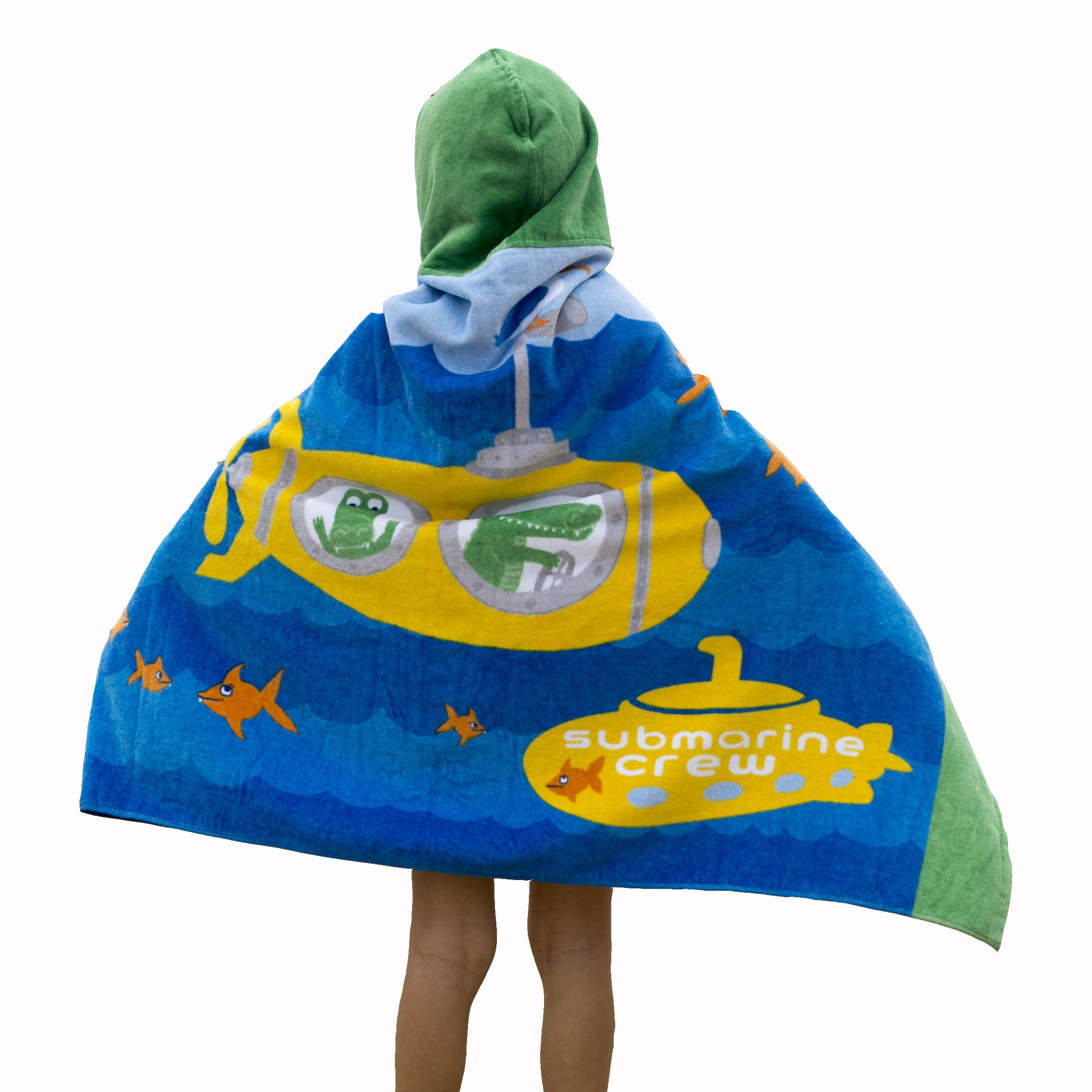 Wowelife Submarine Hooded Bath Towel Kids for Bath, Pool and Beach, 100% Cotton 30 x 50 inch Upgraded Extended Length for Boys and Girls, Fits 4-12 Years Old(Submarine Crew)