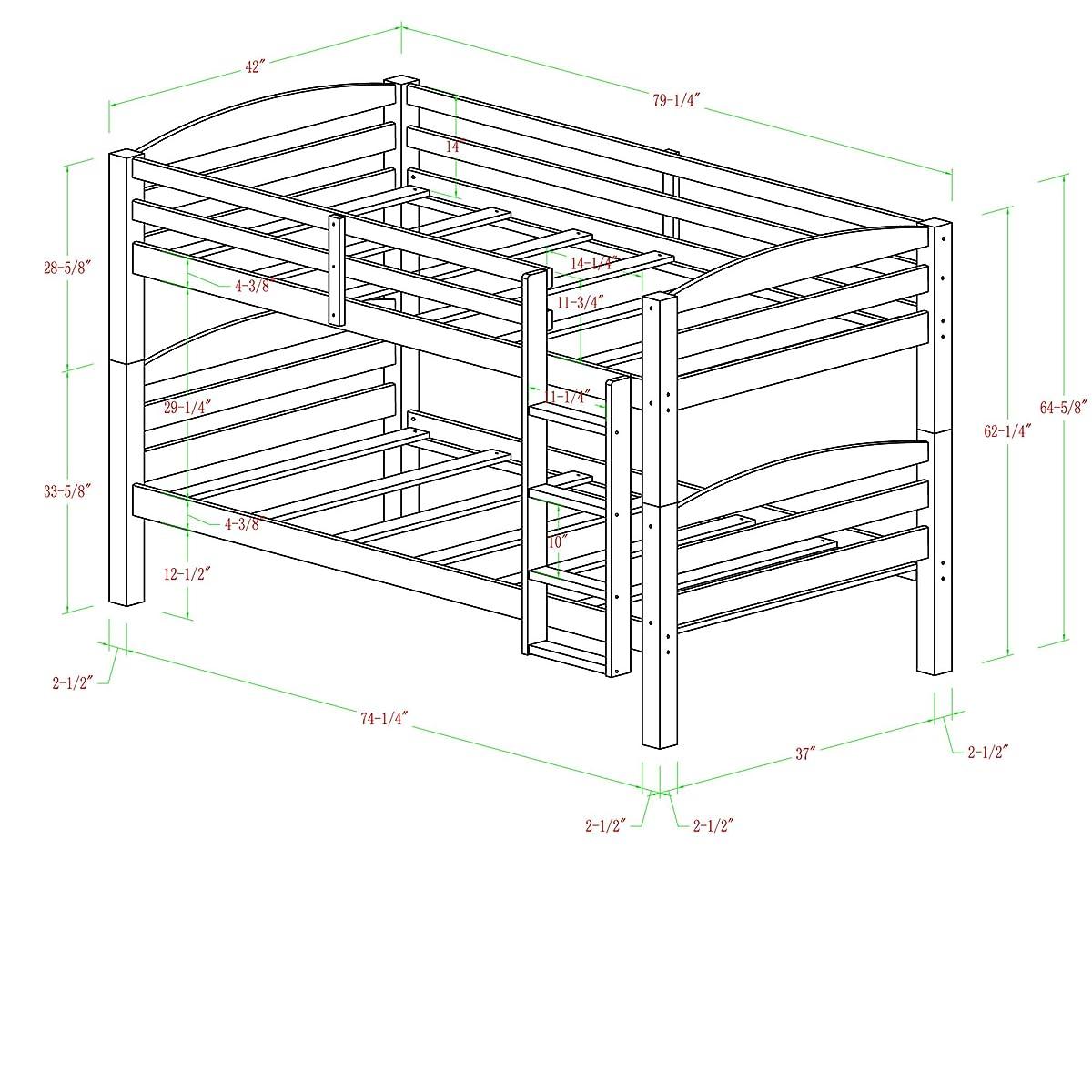 Walker Edison Solid Wood Twin Bunk Bed, Espresso