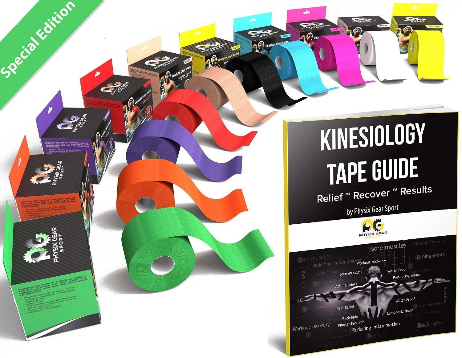 Physix Gear Sport Kinesiology Tape - Free Illustrated E-Guide - 16ft Uncut Roll - Best Pain Relief Adhesive for Muscles, Shin Splints Knee & Shoulder - 24/7 Waterproof Therapeutic Aid (1PK GRN)