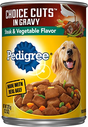 PEDIGREE CHOICE CUTS IN GRAVY Adult Canned Wet Dog Food, 13.2 oz. Pack of 12