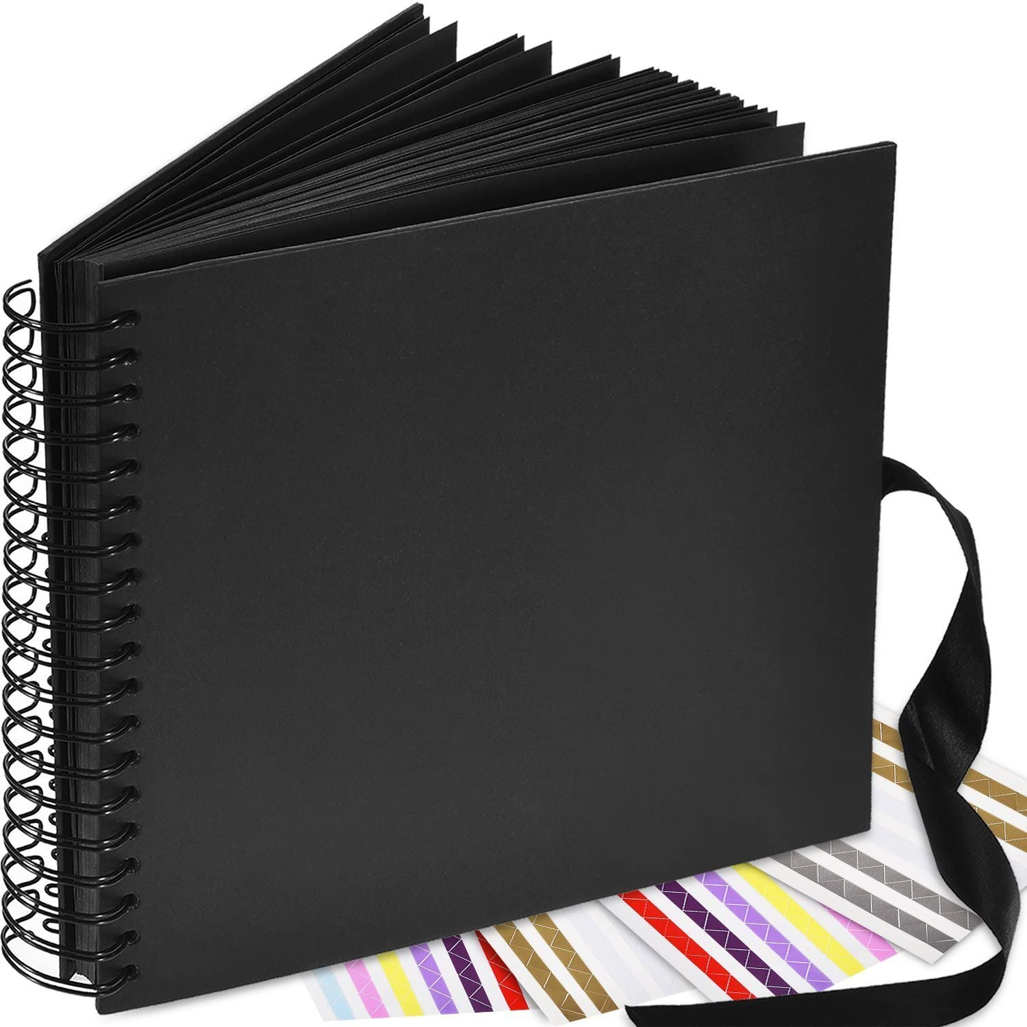 Smarimple Wedding Guest Book Blank Expandable Scrapbook DIY Photo Album Photo Booth Album 80 Pages,Black 8 inch 6 Sheet Stickers