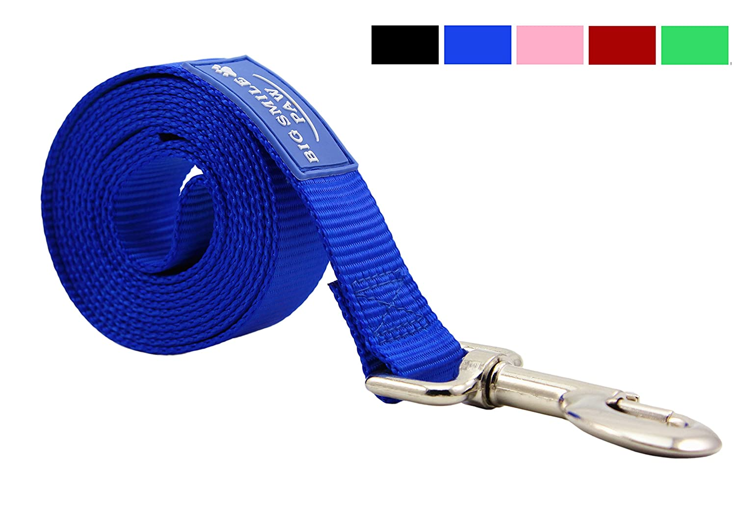 bluee Big Smile PAW Dog Leash Nylon Durable,5 Foot Long 1 Inch Wide (bluee)