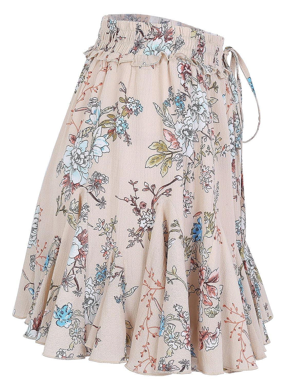 bd37cecf44d771 Missy Chilli Damen Kurz Rock Sommer Lässig High Waist Blumen Volant Mini  Röcke Skirt: Amazon.de: Bekleidung