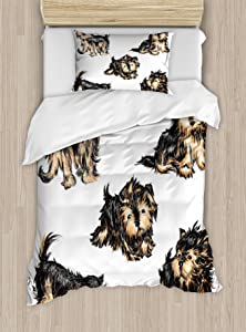 Ambesonne Yorkie Duvet Cover Set, Hand Drawn Yorkies Realistic Yorkshire Terrier Images Dog Love Cartoon, Decorative 2 Piece Bedding Set with 1 Pillow Sham, Twin Size, Black Cream