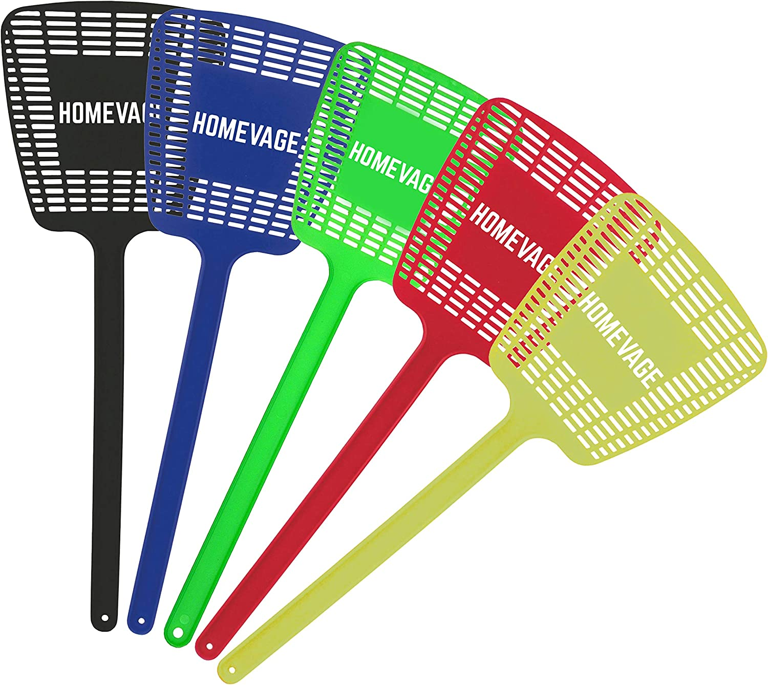 HOMEVAGE Fly Swatter Heavy Duty, Strong Flexible Manual Swat Set, Long Handle, Weight Up to 1.1 OZs/One - PE Material, Durable - Best Insects, Bugs, Spiders, Fly Killer for Outdoor and Indoor, 5 Pack: Garden & Outdoor