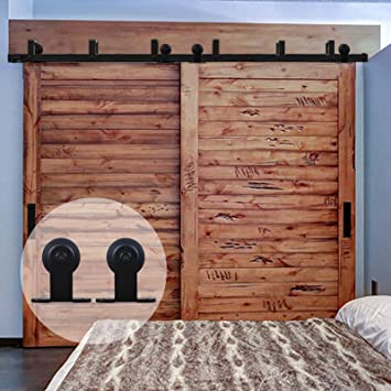 Amazon.com: CCJH Barn Door Hardware T Style 9 FT Bypass System ...