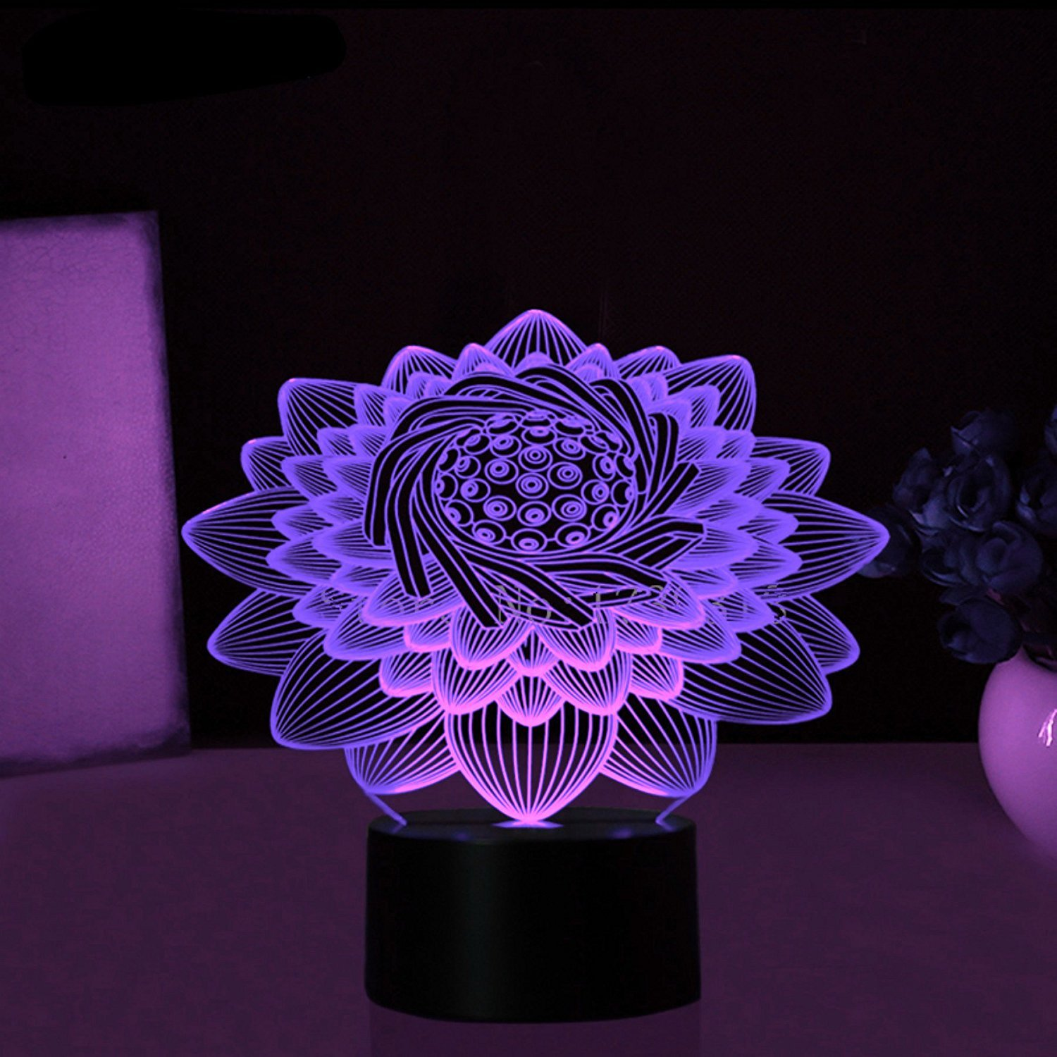 New 3d Lotus Flower Night Light Touch Switch Table Desk Optical