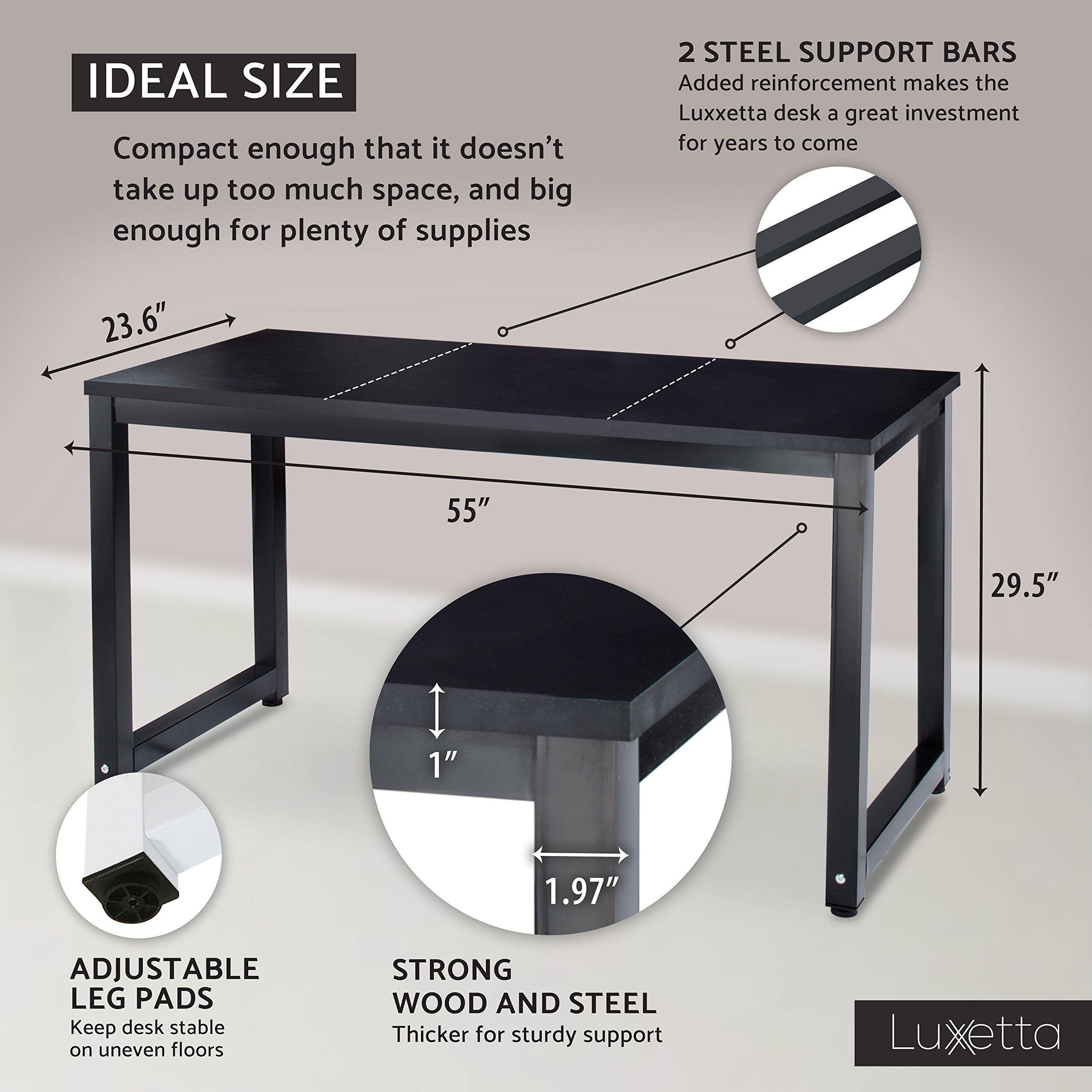 "Office Computer Desk – 55"" x 23"" Black Laminated Wooden"