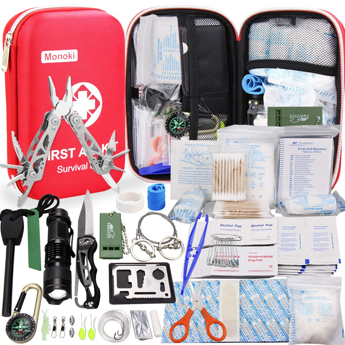 Monoki First Aid Kit Survival Kit, 241Pcs Upgraded Outdoor Emergency Survival Kit Gear - Medical Supplies Trauma Bag Safety First Aid Kit for Home Office Car Boat Camping Hiking Hunting Adventures by Monoki