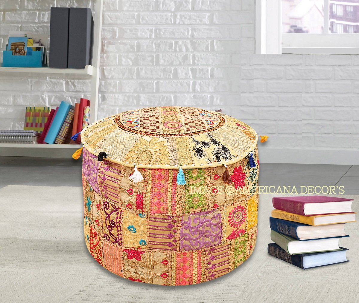 Americana decor's Bohemian Patchwork Ottoman Cover vintage Traditional indian pouf cover ''14x22'' cotton decorative chair ''Filler Not Inculded'' (Beige)