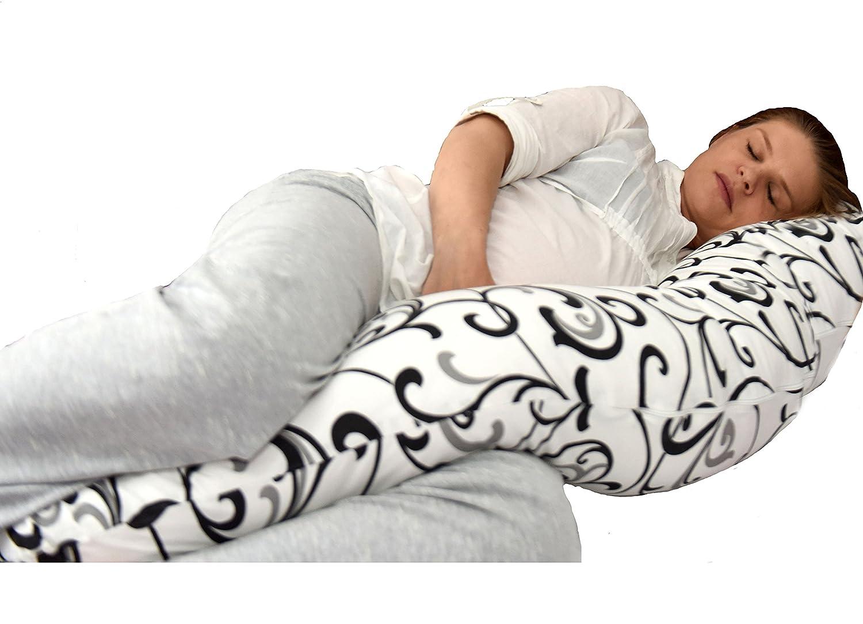 Cojin de lactancia con diseño único 5 en 1: soporte de cuerpo, acurrucarse en un sueño profundo y confortable, soporte para el amamantamiento, cuna de bebé y soporte para el bebé, impide el volteo. Es ideal para los dolores de espalda durante y después de